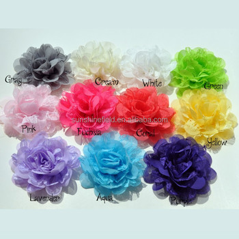 "4"" Lace and Chiffon Flowers"