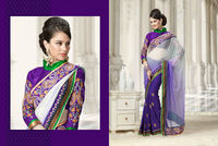 Embroidered Purple Designer Lace Work Saree Blouse