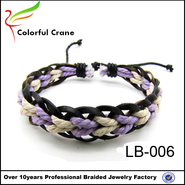 Hot selling western style handmade leather bracelet with wax cotton