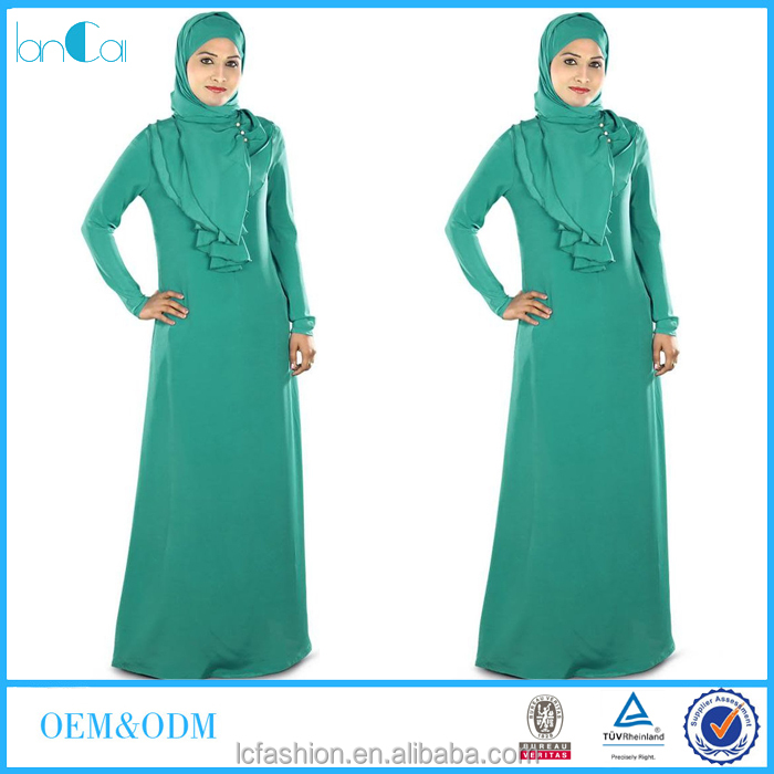 New Arrival Islamic dresses green dyed long sleeve abaya robe for Muslim women