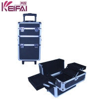 Popular 2015 Hot Sale Aluminium 4in1 Hairdressing Trolley Makeup Case With Stand