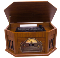 old fashion Gramophone player with USB SD CD cassette bluetooth retro vinyl records lp turntable