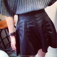 In-Stock PU Leather short skirts fashion 2015 girls in short skirts