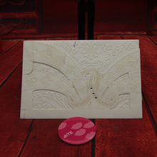 Pocket customized printing wedding invitation handmade card with blank embossed insert card