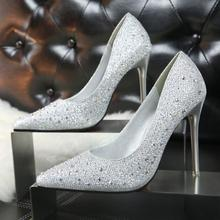 Fashion dress shoes women wholesale elegant lady high heel shoes with diamond