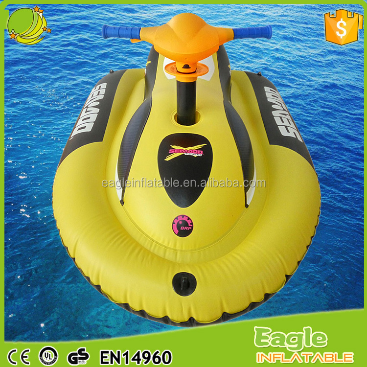Swimming Water Outdoor Games Wet Jet Ski Factory Custom motorized pool float Electric Inflatable Motorboat Pool Float Seat Boat