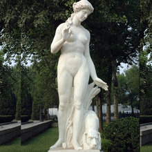 life size natural stone white marble nude woman figure with dog for outdoor house garden park hotel