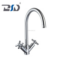 Double cross lever handle high neck brass chrome finish UK styl design sink mixer tap ,deck mounted hot and cold kitchen fauce