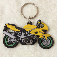3D pvc soft rubber promotion items motorcycle keychains