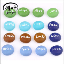 30mm inspire colorful decorative frosted tumbled glass stone inspirational stones wholesale
