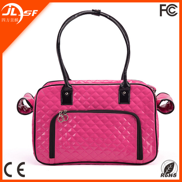 Pet Carrier Bag PU Leather Dog Cat Carrier Portable Handbag Small Pet Carrier