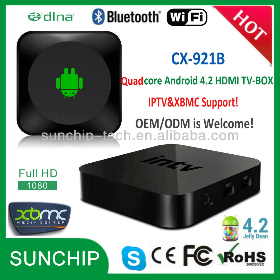 CX-921B 2014 Best Rockchip 3188-T TV BOX Android HDMI TV-BOX 4.2 Quad Core IPTV XBMC HD Media Player with WIFI&Bluetooth