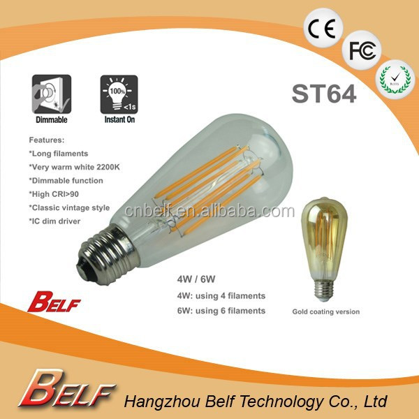 Dimmable Led Bulb Supplier Warm White ST64 4W 6W 8W Amber / Clear glass
