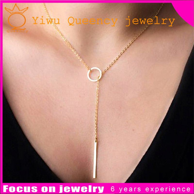 2016 Fashion Costume Designs Gold Simple Necklace Metal Bar Necklace