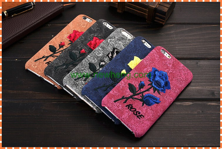 Hot selling embroidery fabrics rose flower plastic phone case cover for iphone 7plus