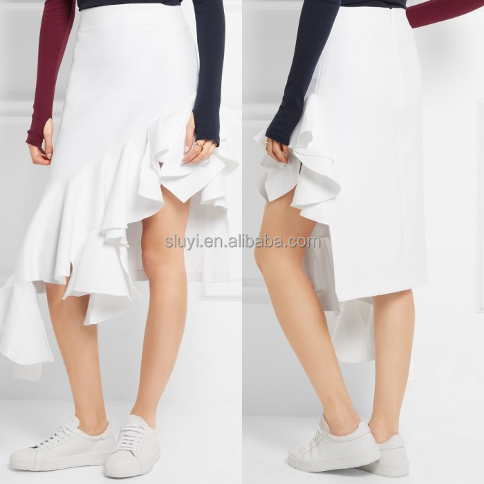 Asymmetric hem ruffled cotton skirt tight fitting white elegant casual women skirt with ruffled hem detail