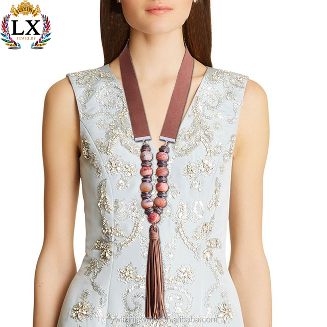 NLX-01052 ethnic style fancy long beaded chain necklace handmade bohemian bali tassel necklace new design gold necklace