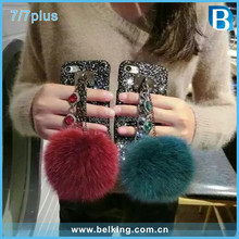 Luxury Bling Bling Rhinestone Hand Grip Furry Plush Phone Cover For iPhone 7 7plus