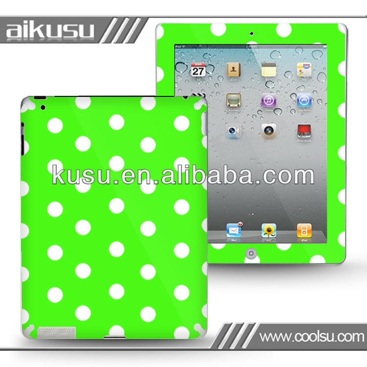 Green lovely design!! 3m sticker for ipad removable skin sticker