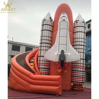 PVC commercial inflatable bounce house with rocket theme slide