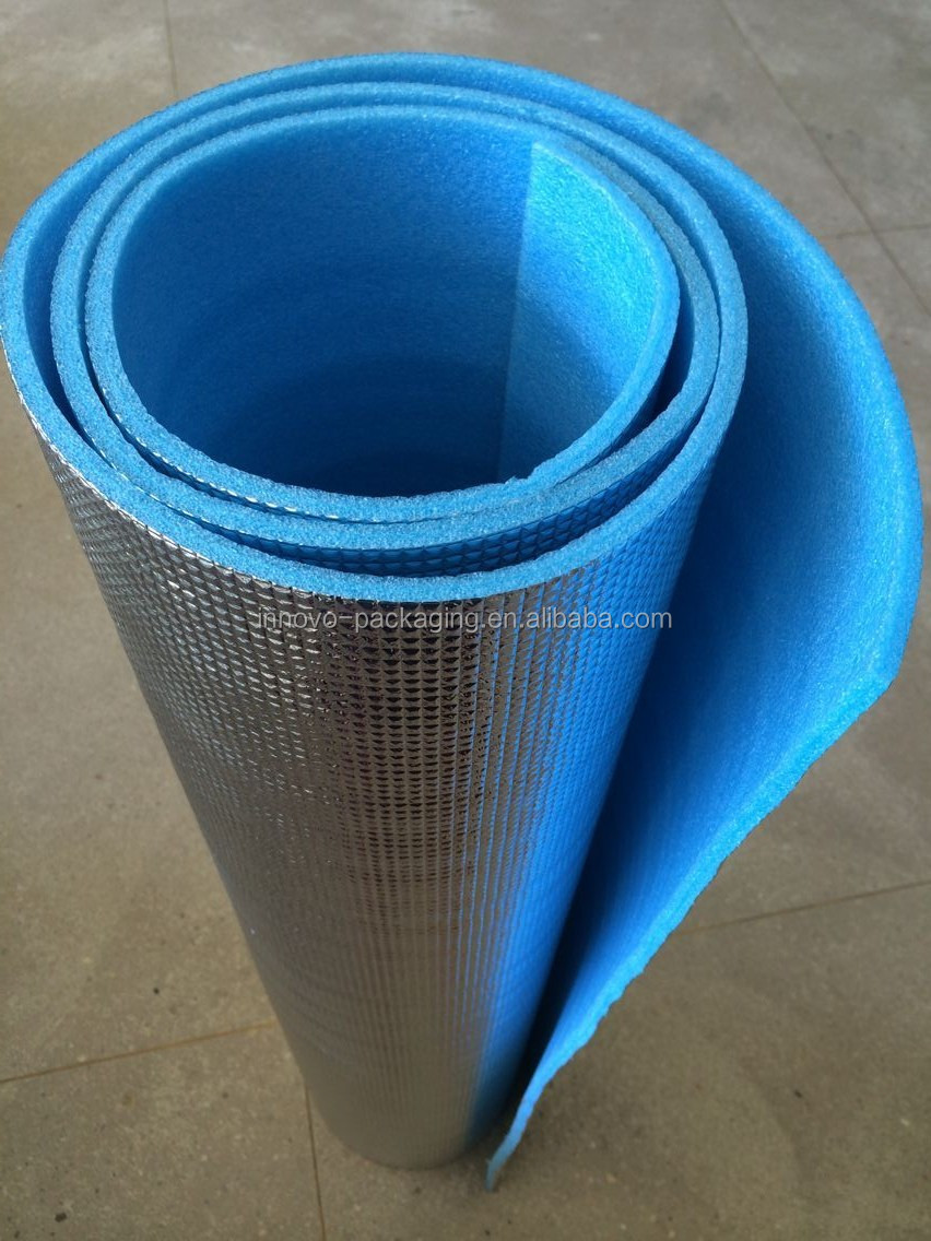 highly reflective aluminium film with a low conductive layer of low density closed cell polyethylene foam thermal insulation