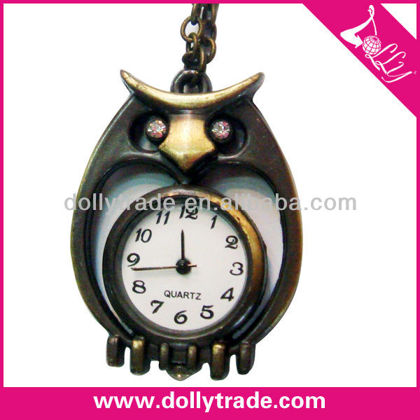 Classical vintage pocket owl watch necklaces