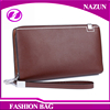 2016 promotional simple brown men coin purse long style bifold zipper card holder clip men's leather wallet