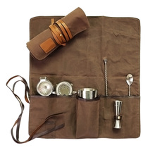 Well crafted custom waxed canvas roll up bartender tool bags with leather trims