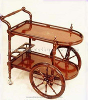 Wooden Tea Trolley , Wooden Tea Cart , Wooden Tea Trolley With Brass Inlay