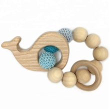 Custom Design Wooden Animal Teether Crochet Baby Teething Rattle Bracelet with Wooden Ring Bell