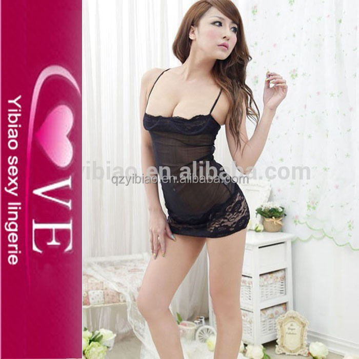 In Stock/OEM Japanese Hot Girls Black Transparent Evening Boob Tube Top Dress Babydoll Spicy Underwear