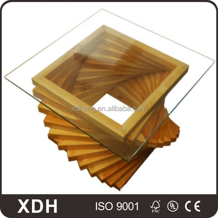2017 new arrival wooden office furniture square glass tea table