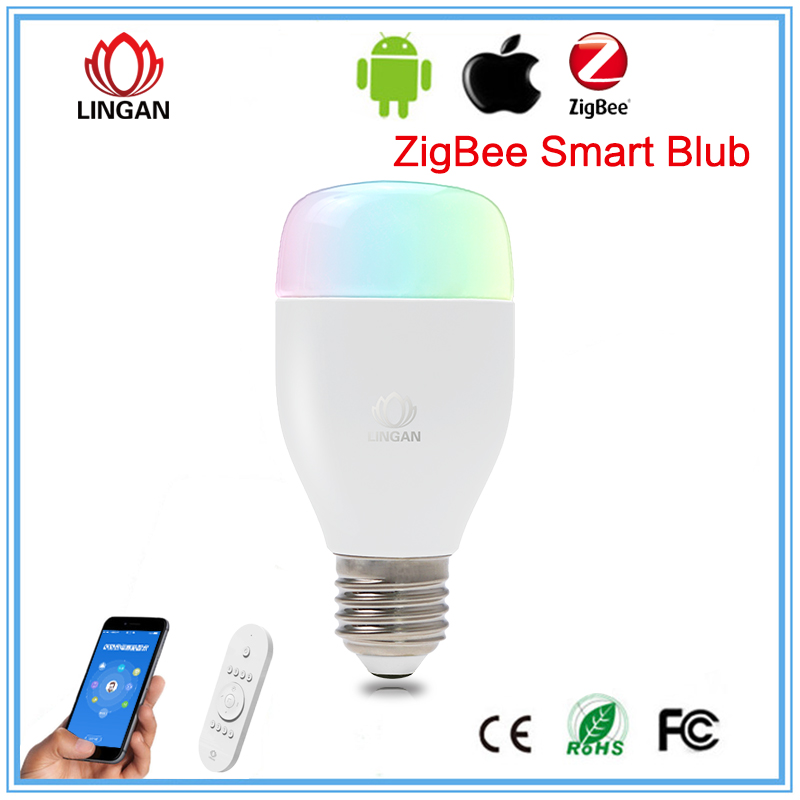 Zigbee dimmable E27 lighting lamp rgb led controller app remote control