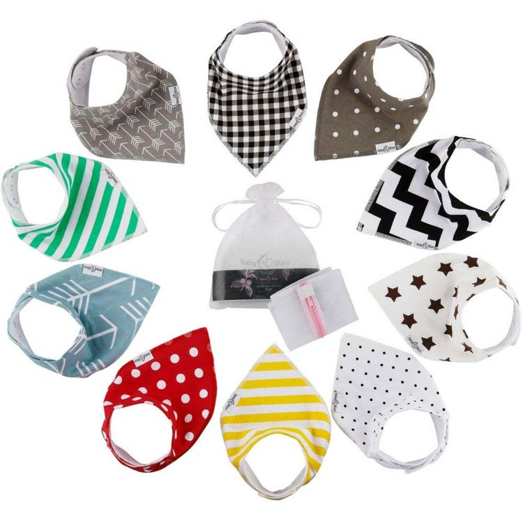 Ultra Soft Super Absorbent Hypoallergenic Baby Shower Gift Set 10-Pack Baby Bandana Bibs
