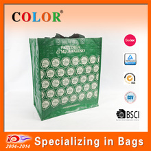 Popular reusable double handles shiny lamintion gift pp woven bag