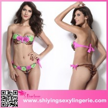 2015 cheap hot sale Roses and Leopard Print Sexy Bikini