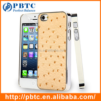 Set Screen Protector And Case For Iphone 5 , Aluminium Brown Ostrich Pattern Phone Case Cover