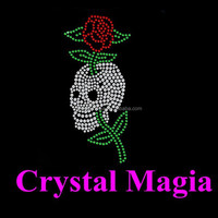 crystal rhinestone motif for dresses skull with flower rose hotfix