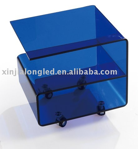 Small Blue End Table Acrylic Coffee Table with Wheels Removable Tea Table