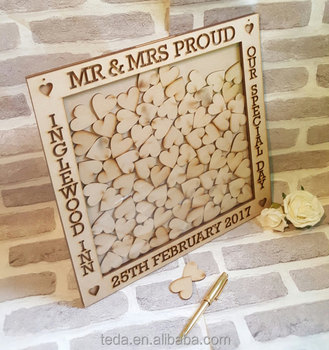 2017 fashion wooden Christening Guest Book