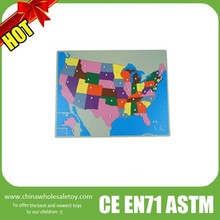 usa map wooden puzzle (45 pcs),montessori puzzle map