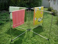 stainless steel metal open frame four frame quilt rack