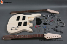 m shengque double neck bass guitar kits ,china cheap bass kits