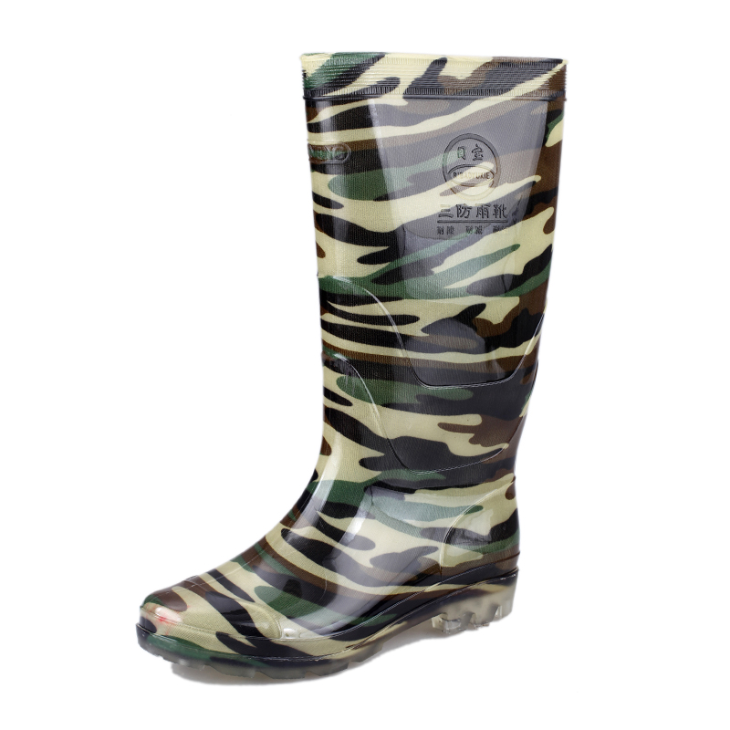 Manufacturer wholesale labor PVC men high rain boots wear waterproof clear working boots Safety Footwear Camouflage quality