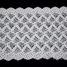 15cm Scalloped Elastic Lace Trim Nylon Spandex Double Color Lace Fabric