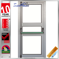 Strong and durable commercial system metal framed tempered glazed emergency exit door with push bar