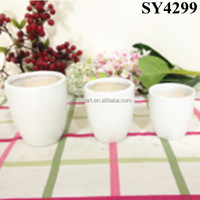 Pot for flower white lightweight ceramic circular plant pot wholesale