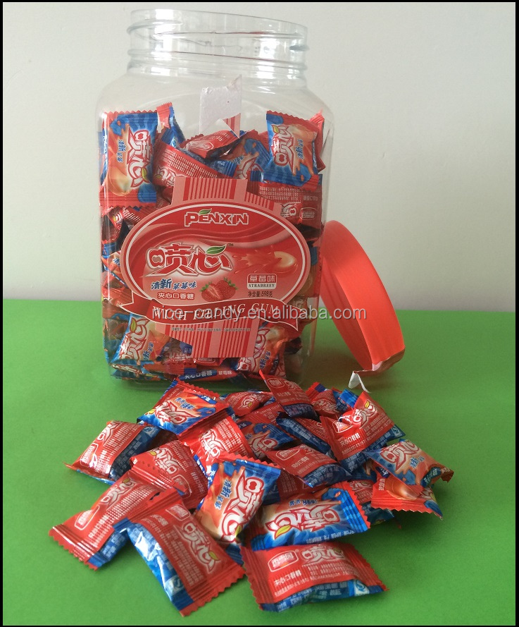 square shaped Jam filling centre filled sweet bubble gum chewing gum candy