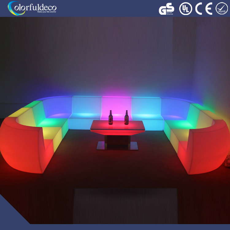 led party plastic garden sofa illuminated outdoor bar counter decoration rental wholesale used nightclub furniture for sale