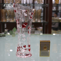 New Style With Double Red Heart Pattern,Wholesale Machine-made Different Shaped Glass Vase For Home Decoration Clear Flower Vase
